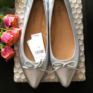 Banana Republic Silver Ballet Pointed Toe Flats